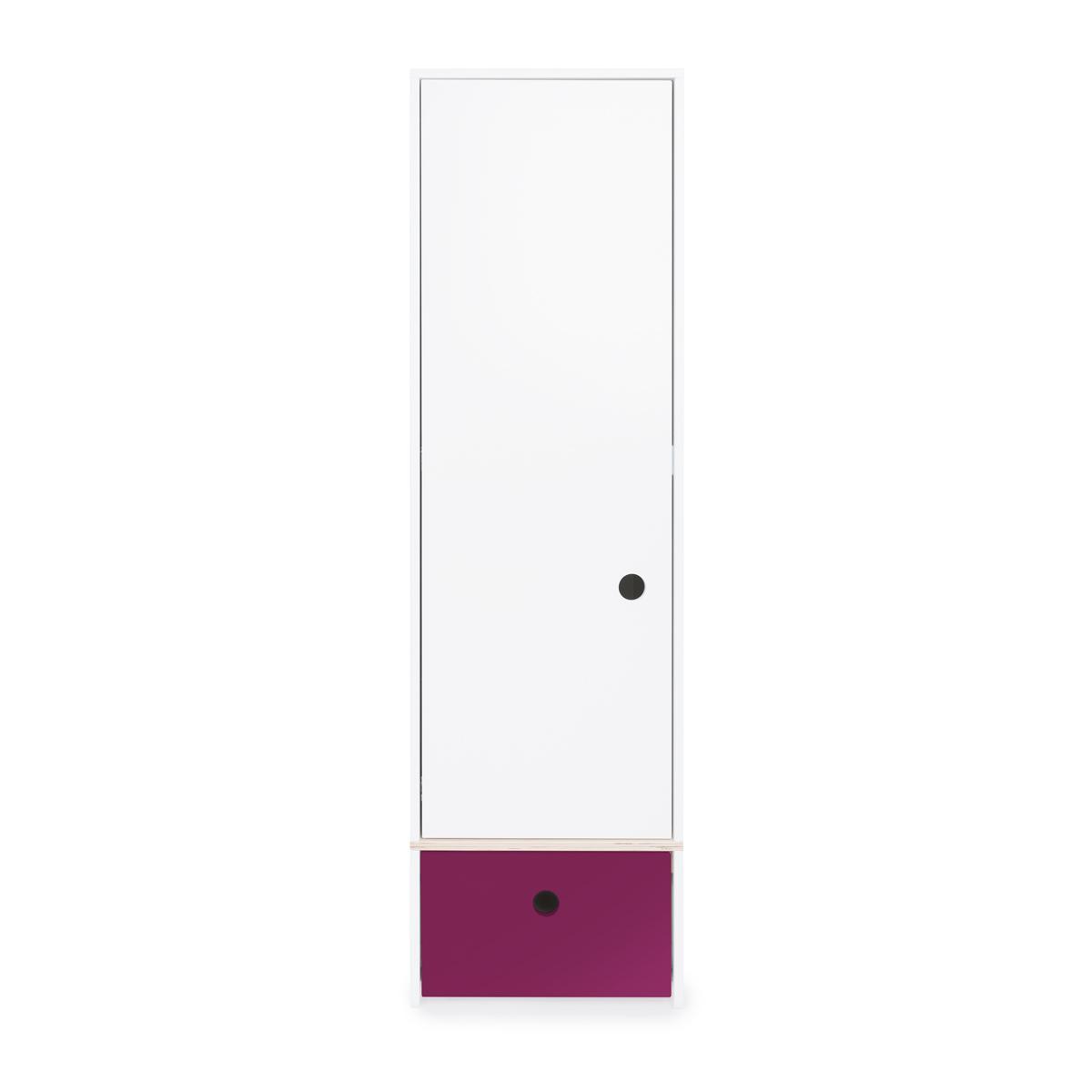 Armoire 1 porte COLORFLEX façade tiroir plum