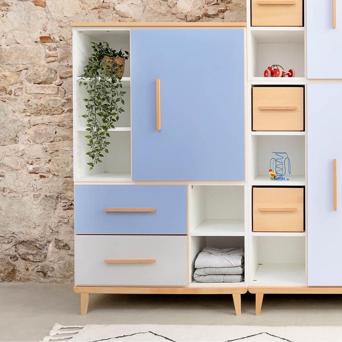Armoire 147cm 1 porte 2 tiroirs hors façades NADO