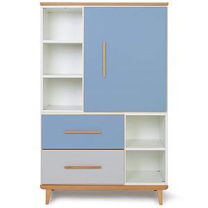 Armoire 147cm 1 porte 2 tiroirs NADO capri blue-manhattan grey