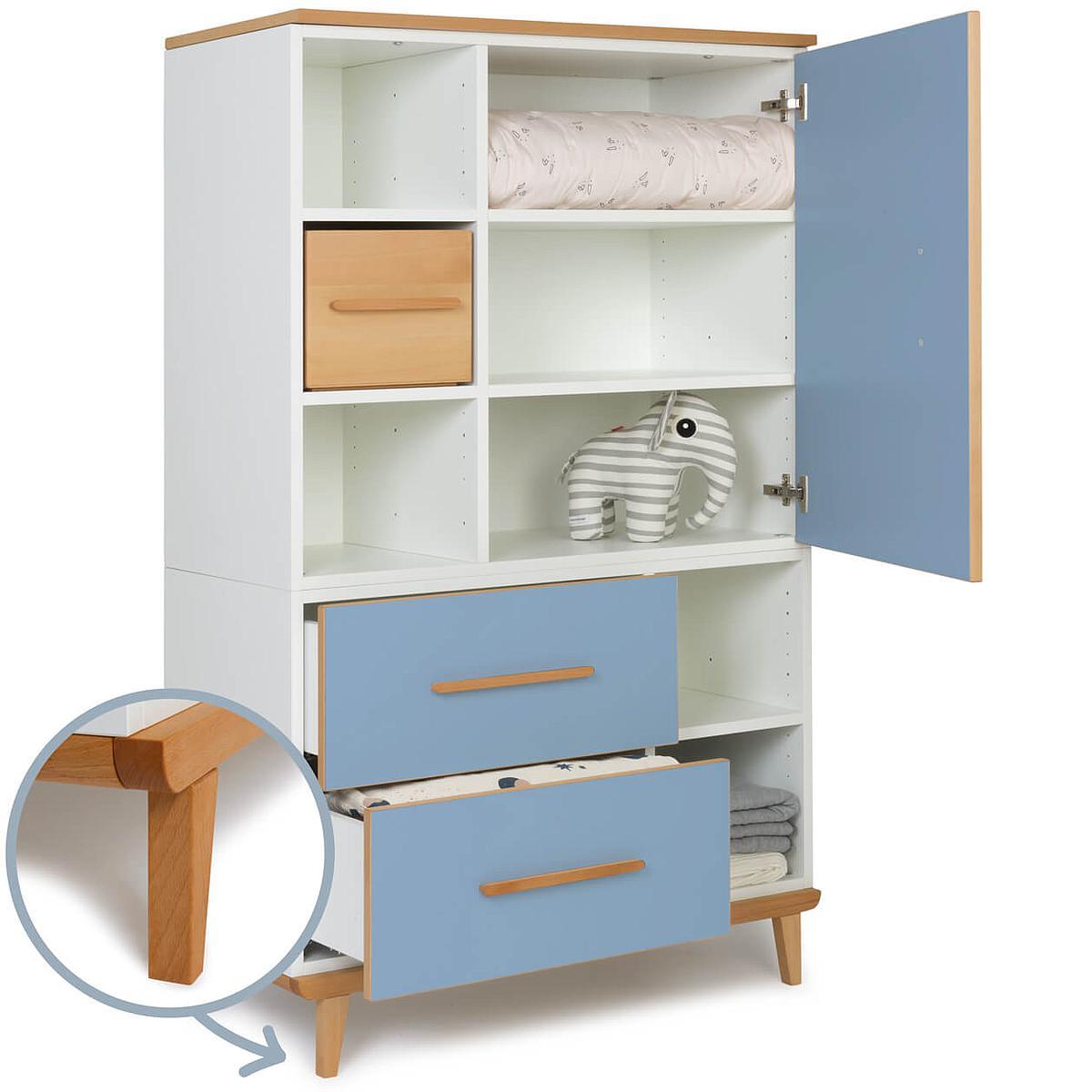 Armoire 147cm 1 porte 2 tiroirs NADO capri blue