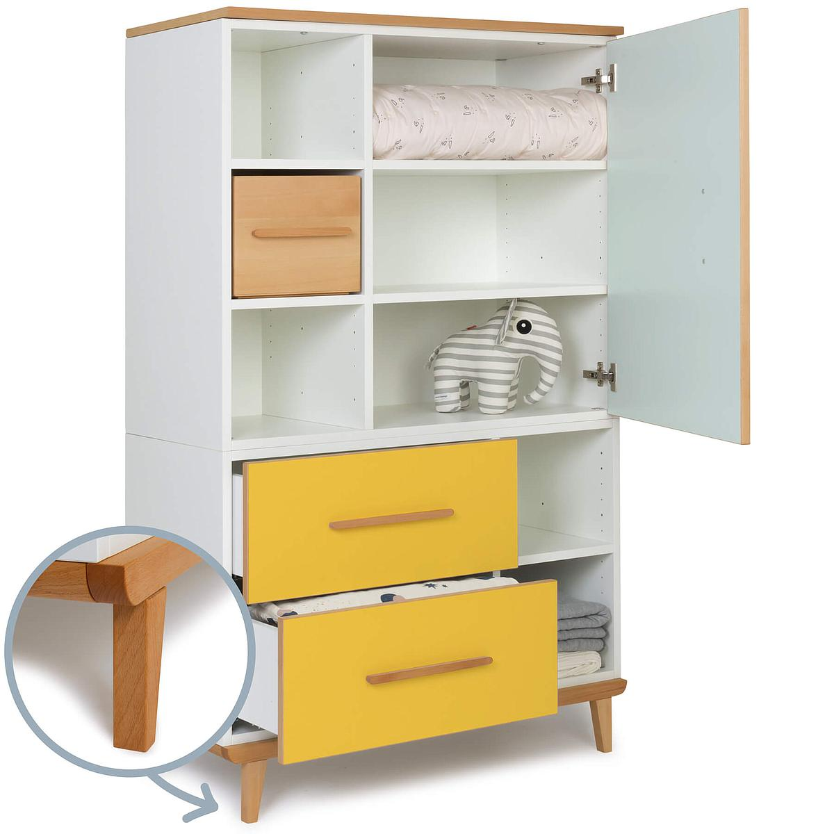 Armoire 147cm 1 porte 2 tiroirs NADO mint-sunshine yellow