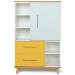 Armoire 147cm 1 porte 2 tiroirs NADO mint-sunshine yellow
