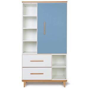 Armoire 173cm 1 porte 2 tiroirs NADO By A.K. capri blue-white