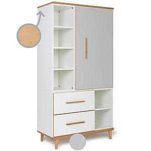 Armoire 173cm 1 porte 2 tiroirs NADO By A.K. manhattan grey-white