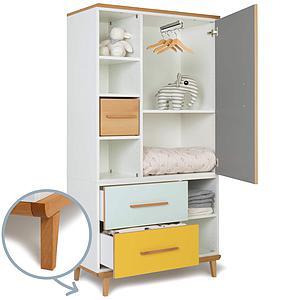 Armoire 173cm 1 porte 2 tiroirs NADO By A.K. slate grey-mint-sunshine yellow
