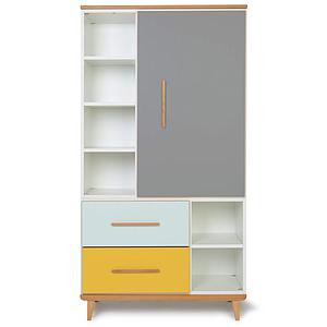 Armoire 173cm 1 porte 2 tiroirs NADO slate grey-mint-sunshine yellow