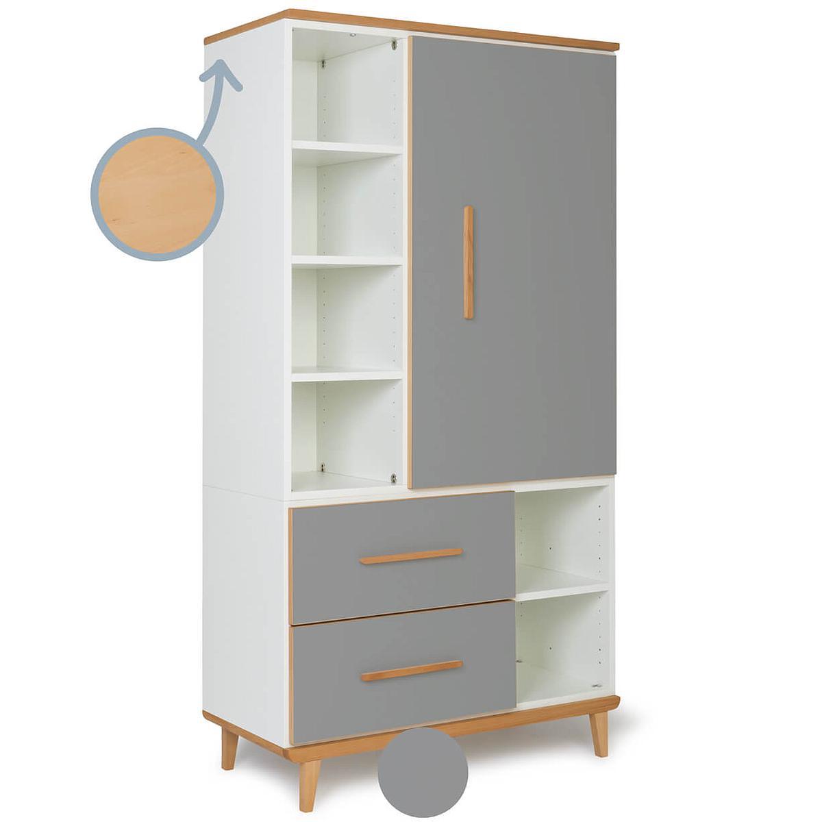 Armoire 173cm 1 porte 2 tiroirs NADO slate grey