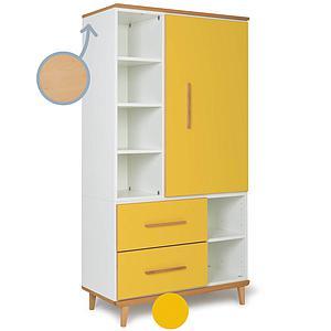 Armoire 173cm 1 porte 2 tiroirs NADO sunshine yellow