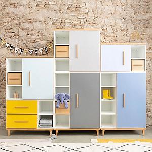 Armoire 198cm 1 porte 3 tiroirs hors façades NADO