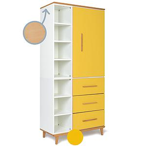 Armoire 198cm 1 porte 3 tiroirs NADO sunshine yellow