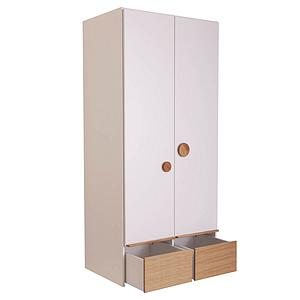 Armoire 2 portes 2 tiroirs KASVA Debreuyn blanc-chêne