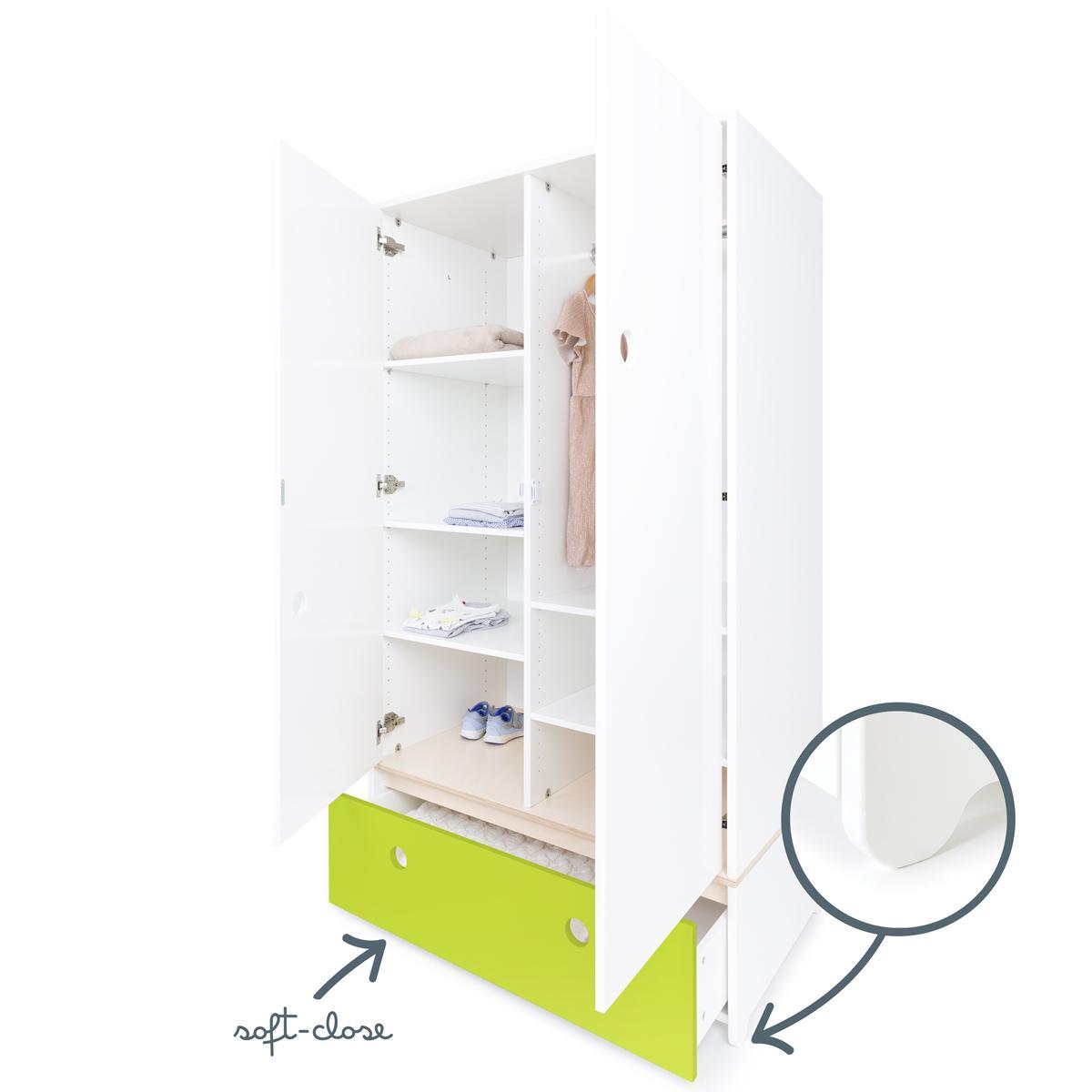 Armoire 2 portes COLORFLEX façade tiroir lime