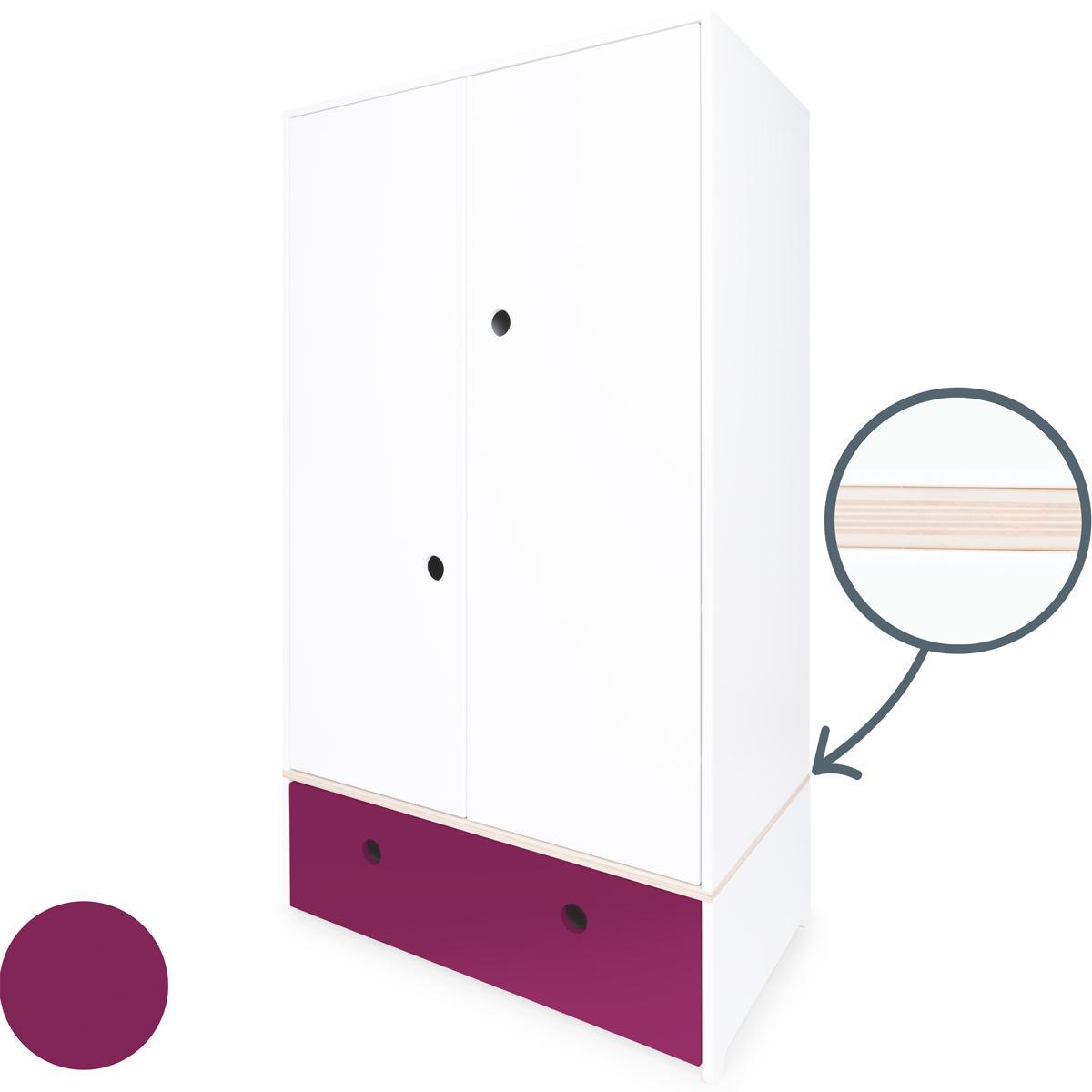 Armoire 2 portes COLORFLEX façade tiroir plum