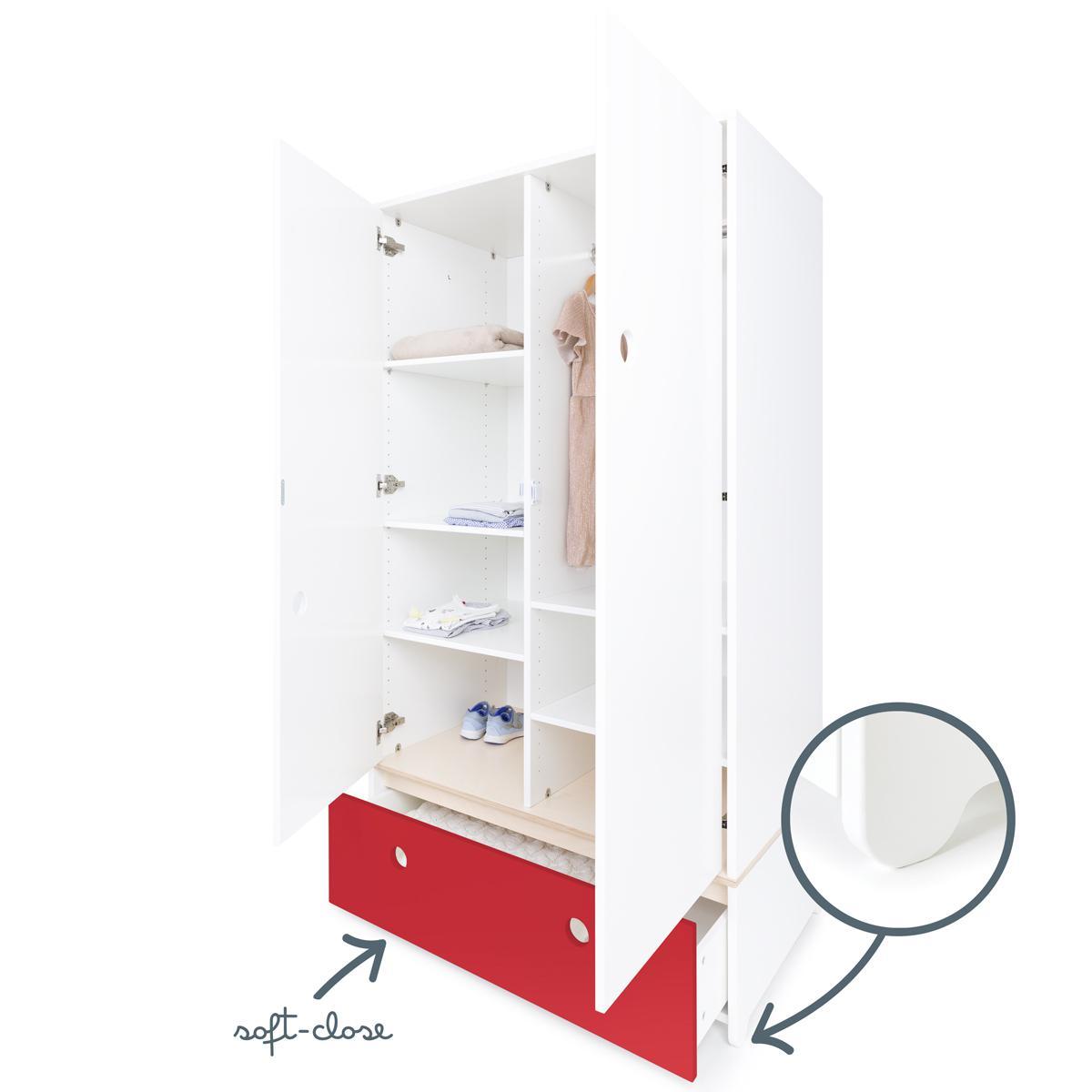 Armoire 2 portes COLORFLEX façade tiroir true red