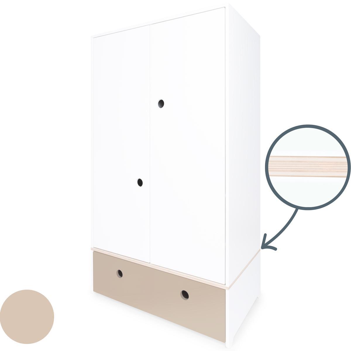 Armoire 2 portes COLORFLEX façade tiroir warm grey