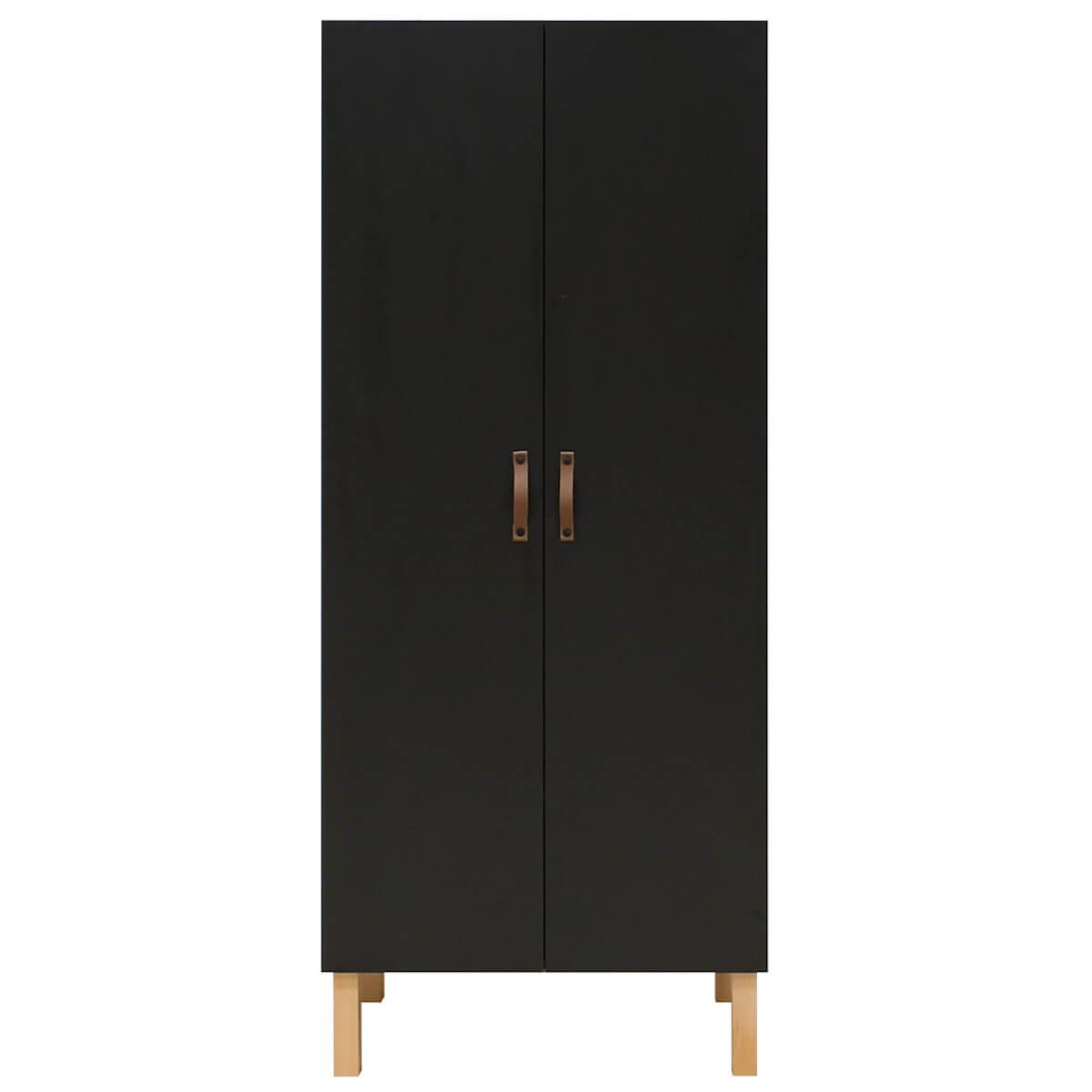 Armoire 2 portes FLORIS Bopita Noir Mat-Naturel
