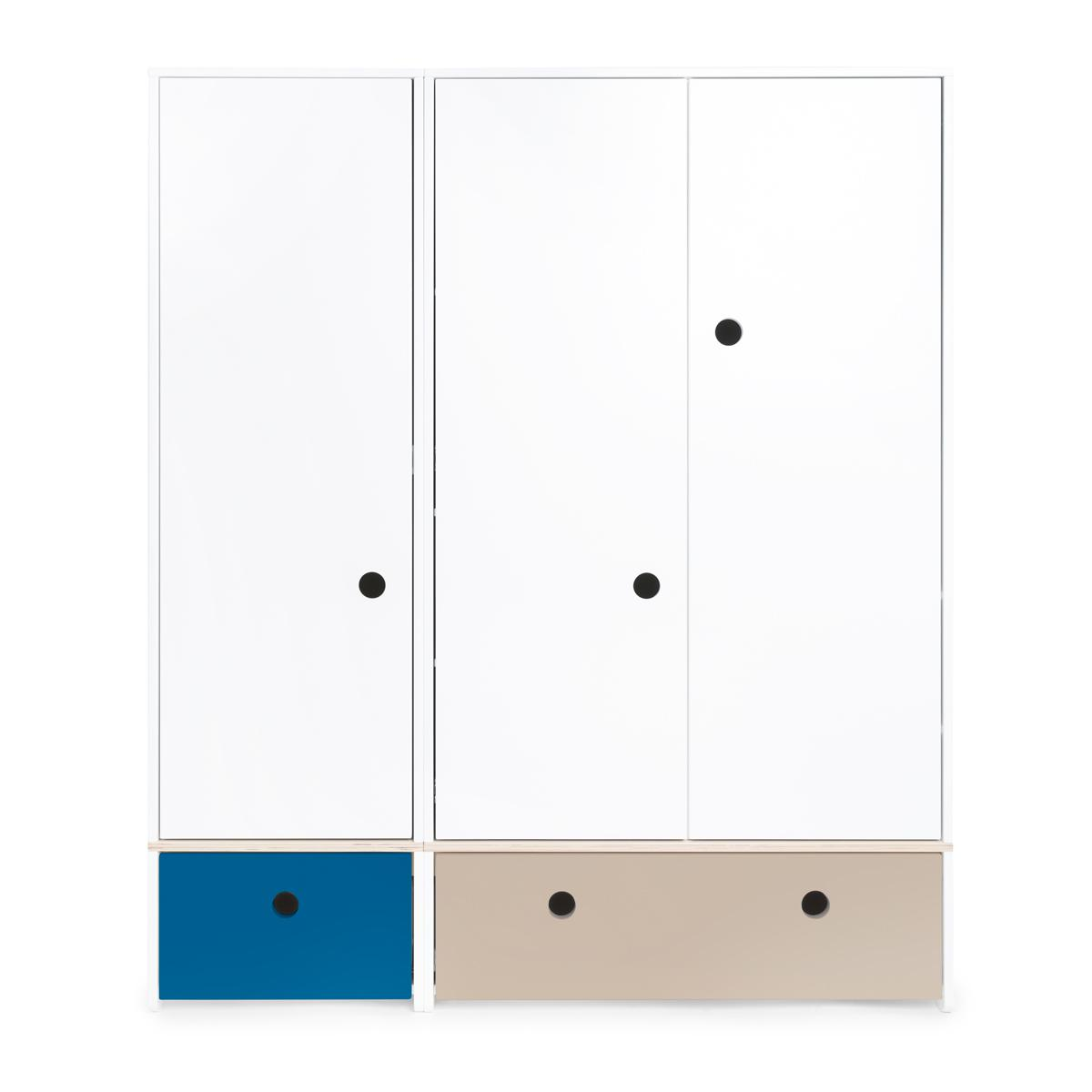 Armoire 3 portes COLORFLEX façades tiroirs deep marine-warm grey