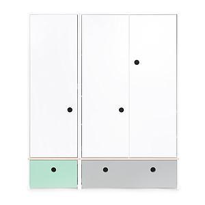 Armoire 3 portes COLORFLEX façades tiroirs mint-pearl grey