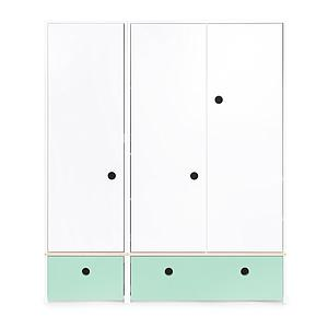 Armoire 3 portes COLORFLEX façades tiroirs mint