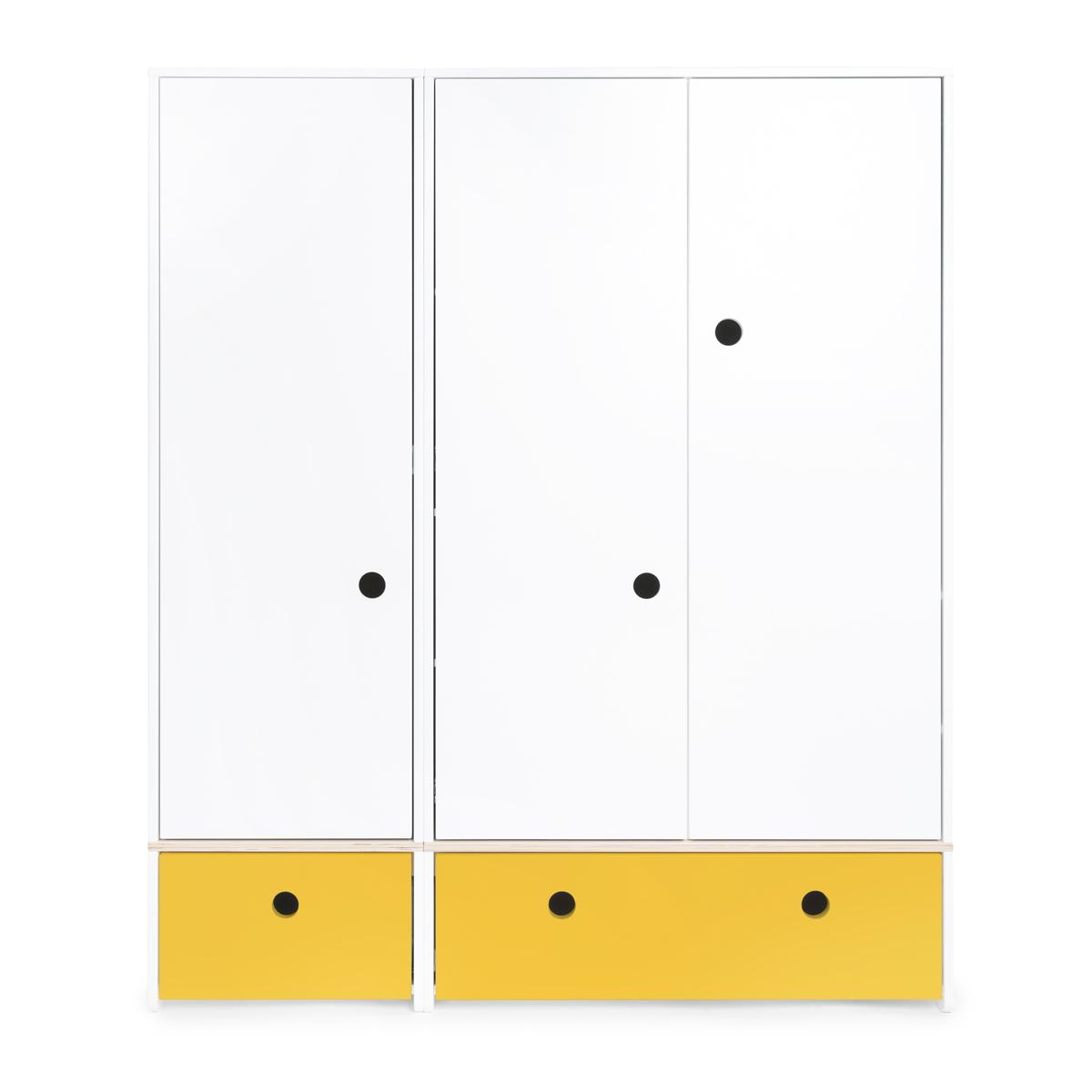 Armoire 3 portes COLORFLEX façades tiroirs nectar yellow