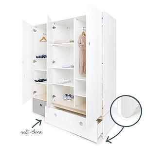 Armoire 3 portes COLORFLEX façades tiroirs pearl grey-white