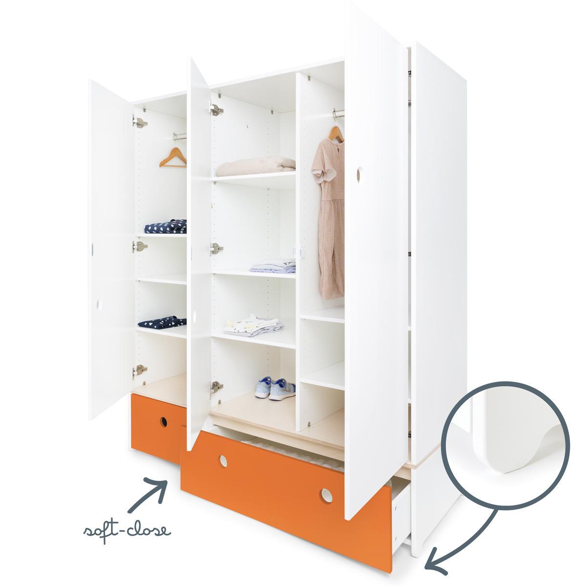 Armoire 3 portes COLORFLEX façades tiroirs pure orange