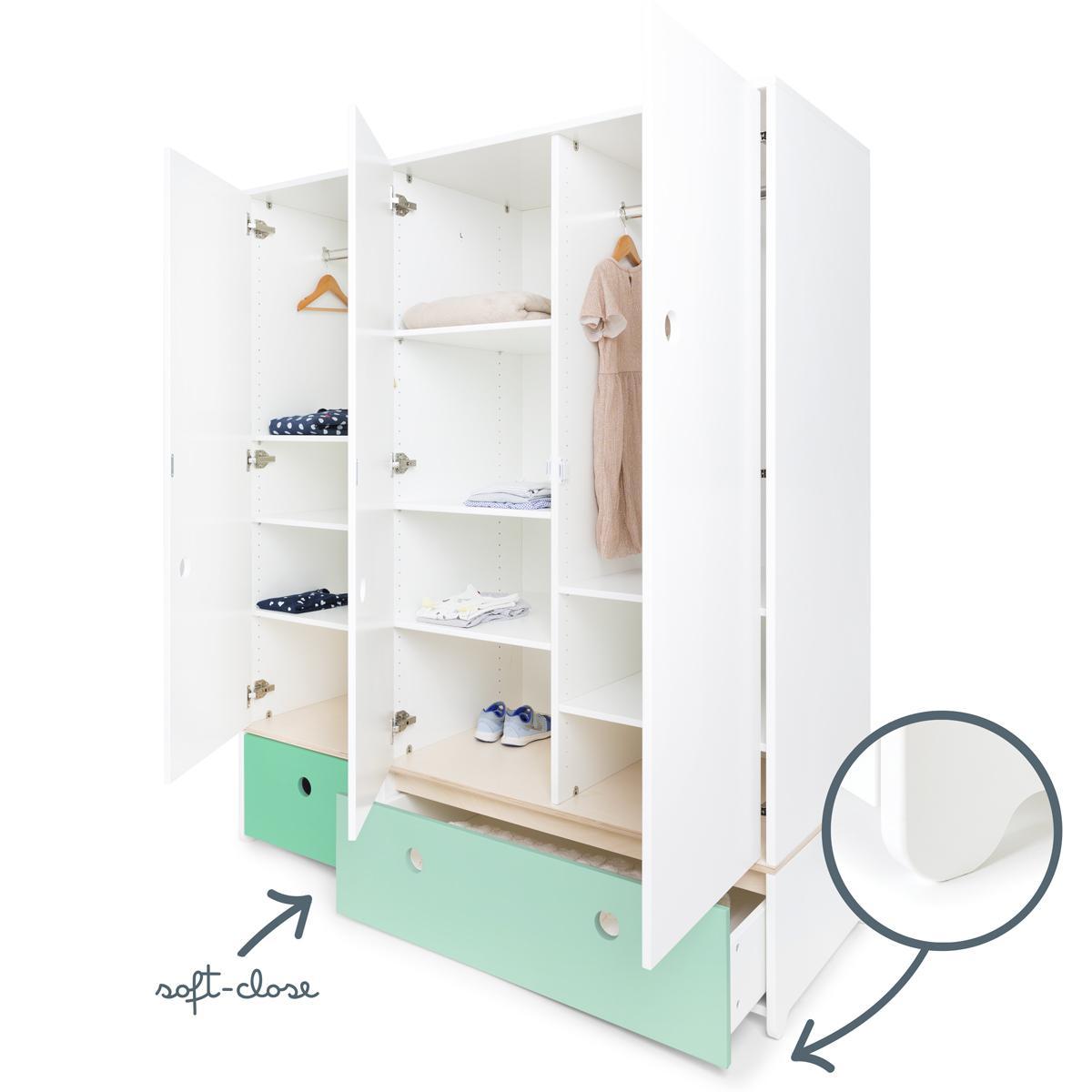 Armoire 3 portes COLORFLEX façades tiroirs sea foam-mint