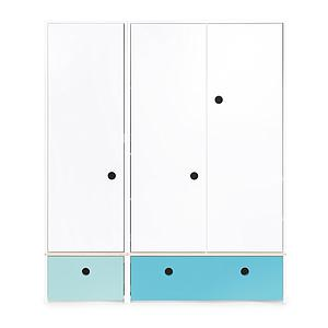 Armoire 3 portes COLORFLEX façades tiroirs sky blue-paradise blue