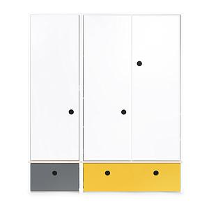 Armoire 3 portes COLORFLEX façades tiroirs space grey-nectar yellow