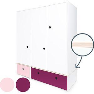 Armoire 3 portes COLORFLEX façades tiroirs sweet pink-plum