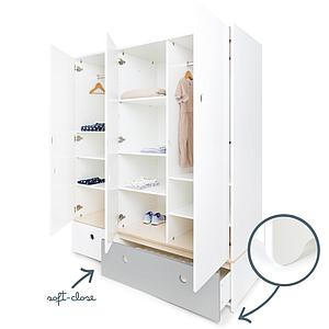 Armoire 3 portes COLORFLEX façades tiroirs white-pearl grey