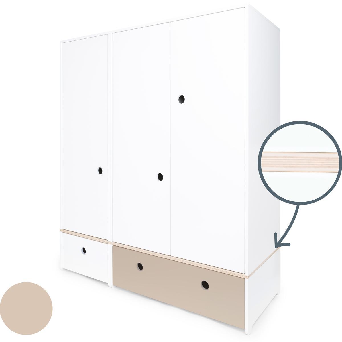 Armoire 3 portes COLORFLEX façades tiroirs white-warm grey