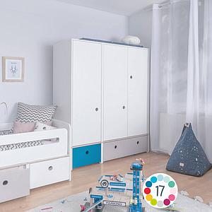 Armoire 3 portes COLORFLEX façades tiroirs white wash-pearl grey