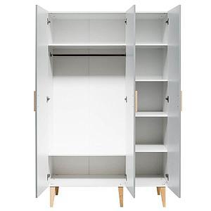 Armoire 3 portes EMMA Bopita blanc-gris