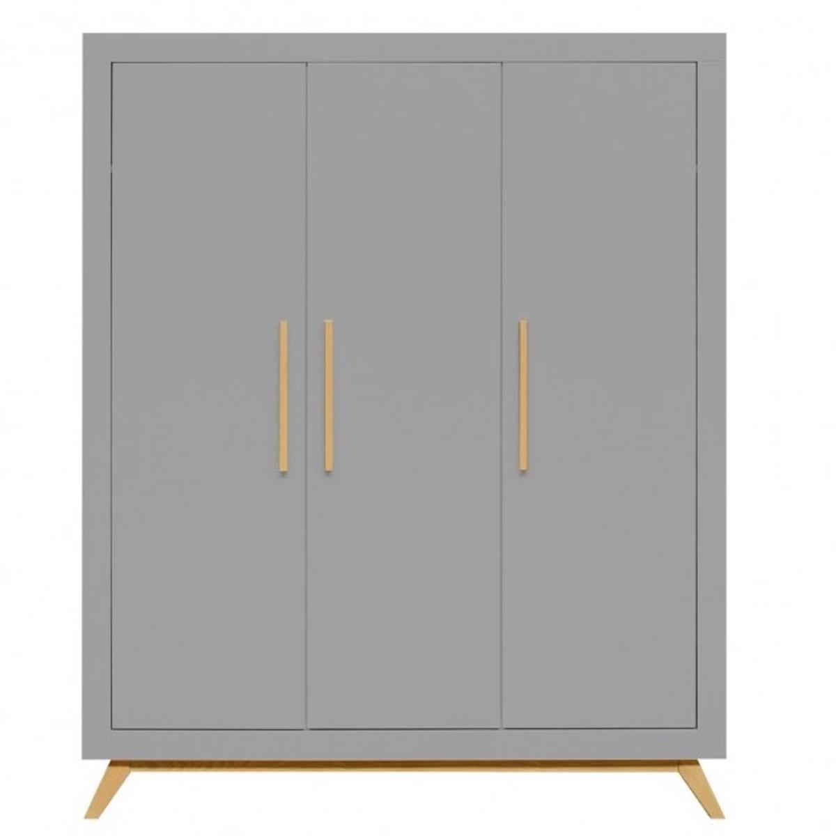 Armoire 3 portes FENNA Bopita gris-naturel
