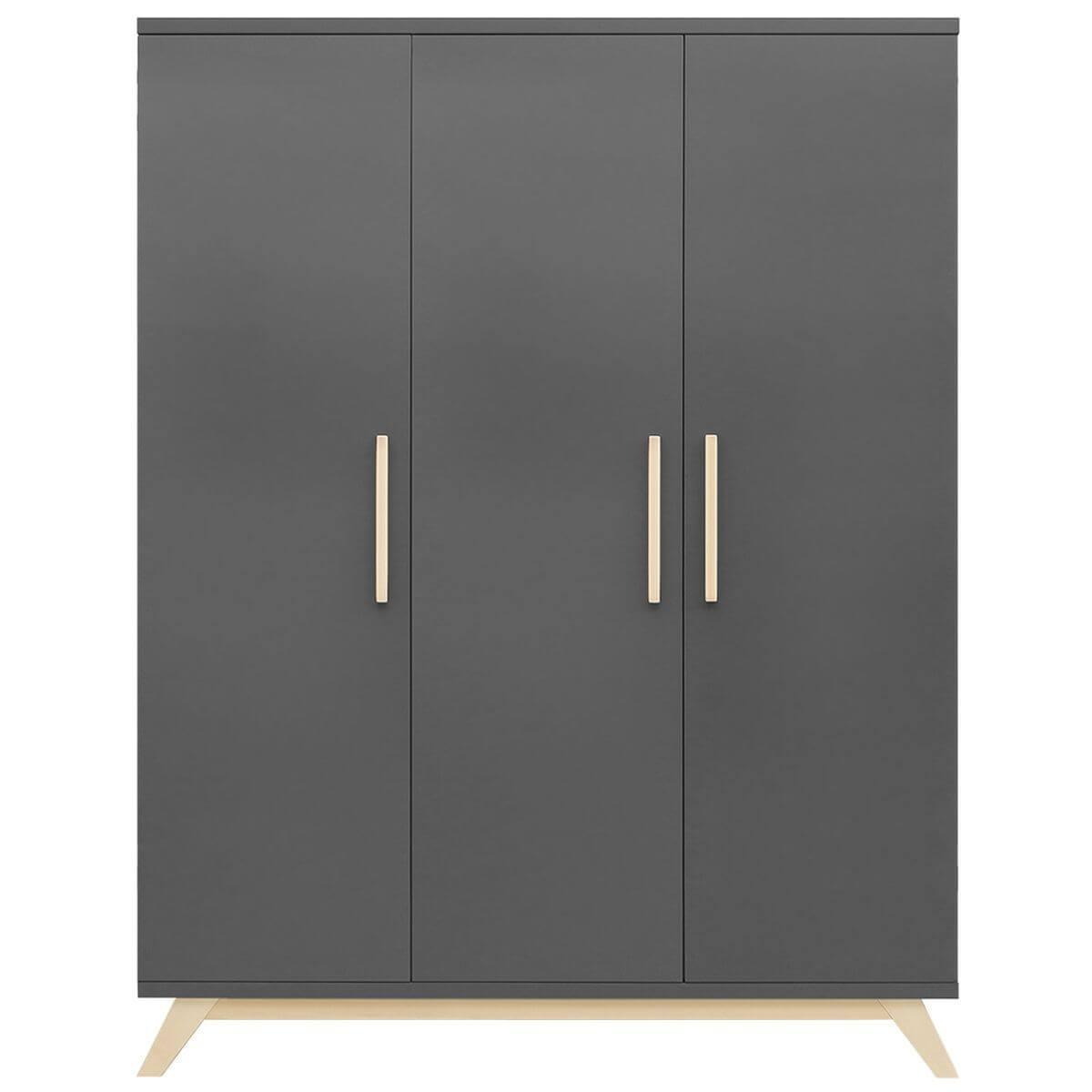 Armoire 3 portes KYAN Bopita deep grey-naturel