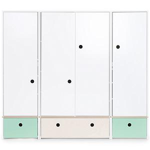Armoire 4 portes COLORFLEX Abitare Kids façades tiroirs mint-white wash-mint