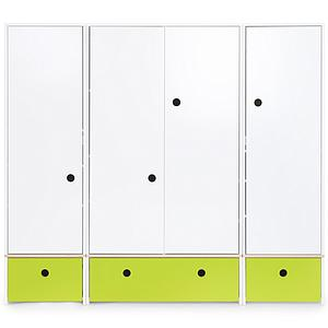 Armoire 4 portes COLORFLEX façades tiroirs lime
