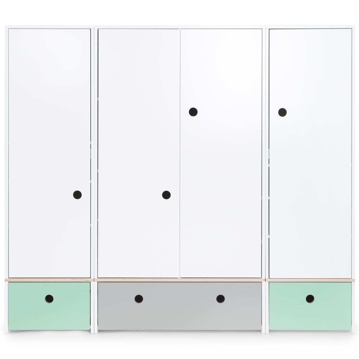 Armoire 4 portes COLORFLEX façades tiroirs mint-pearl grey-mint