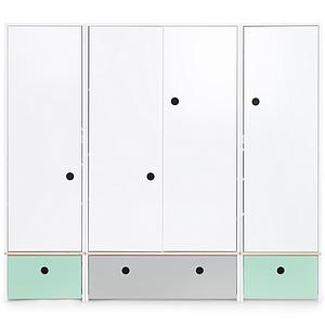 Armoire 4 portes COLORFLEX façades tiroirs mint-pearl grey-mint