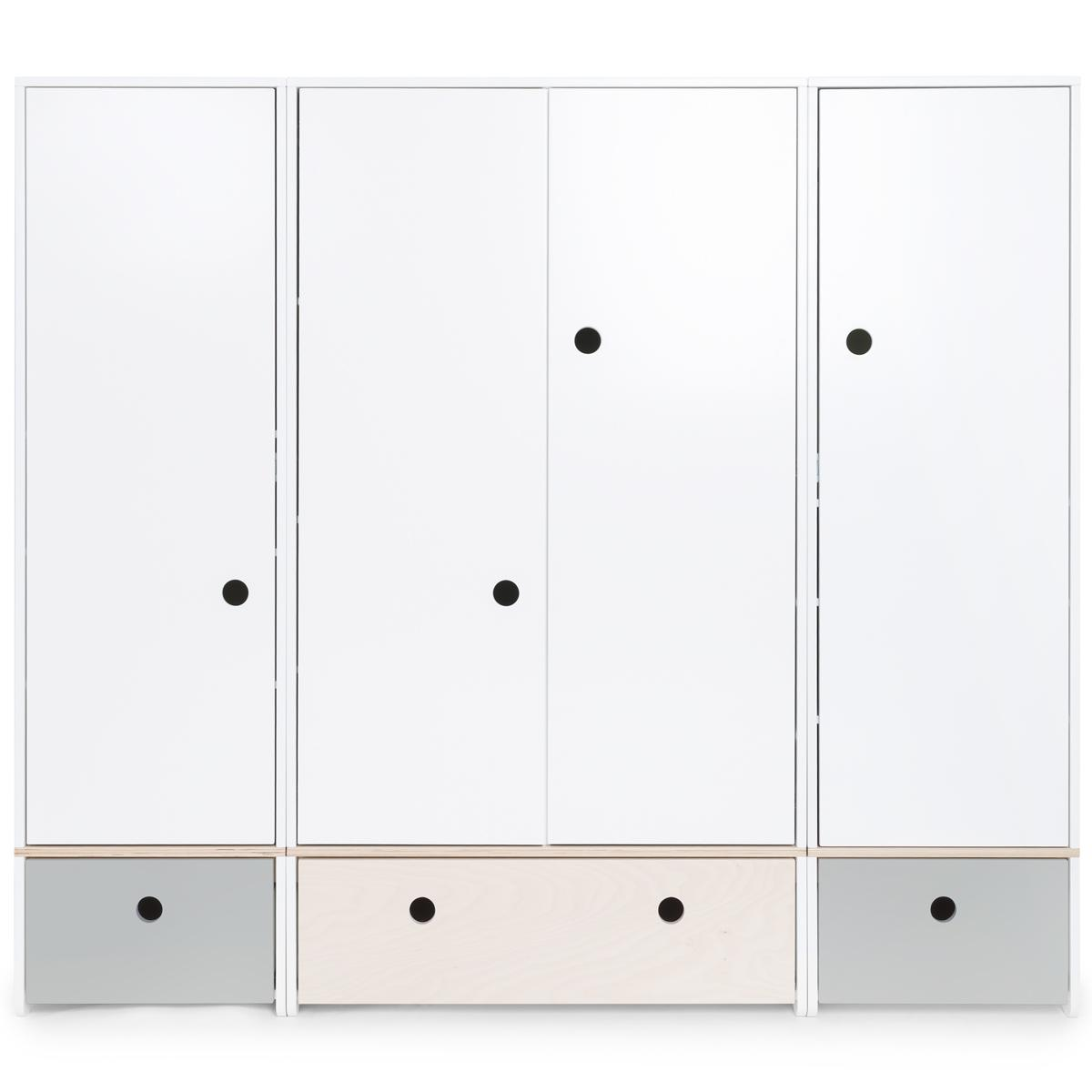 Armoire 4 portes COLORFLEX façades tiroirs pearl grey-white wash-pearl grey