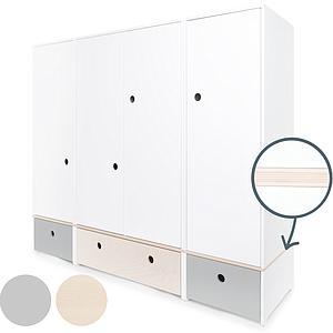 Armoire 4 portes COLORFLEX façades tiroirs pearl grey-white wash-pearl grey