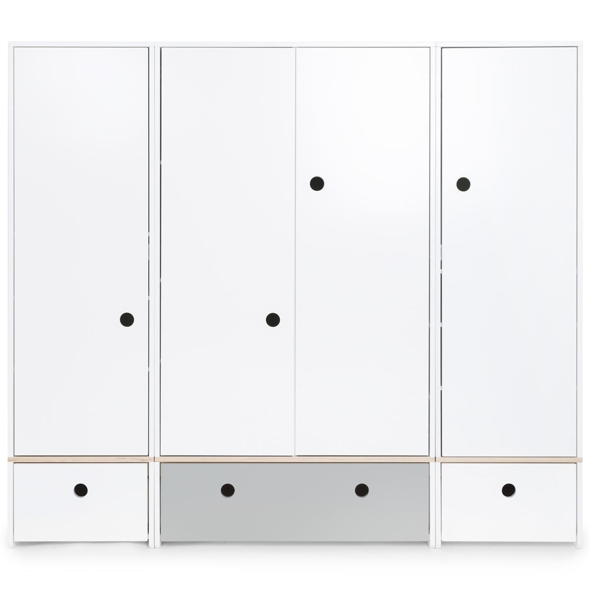 Armoire 4 portes COLORFLEX façades tiroirs white-pearl grey-white
