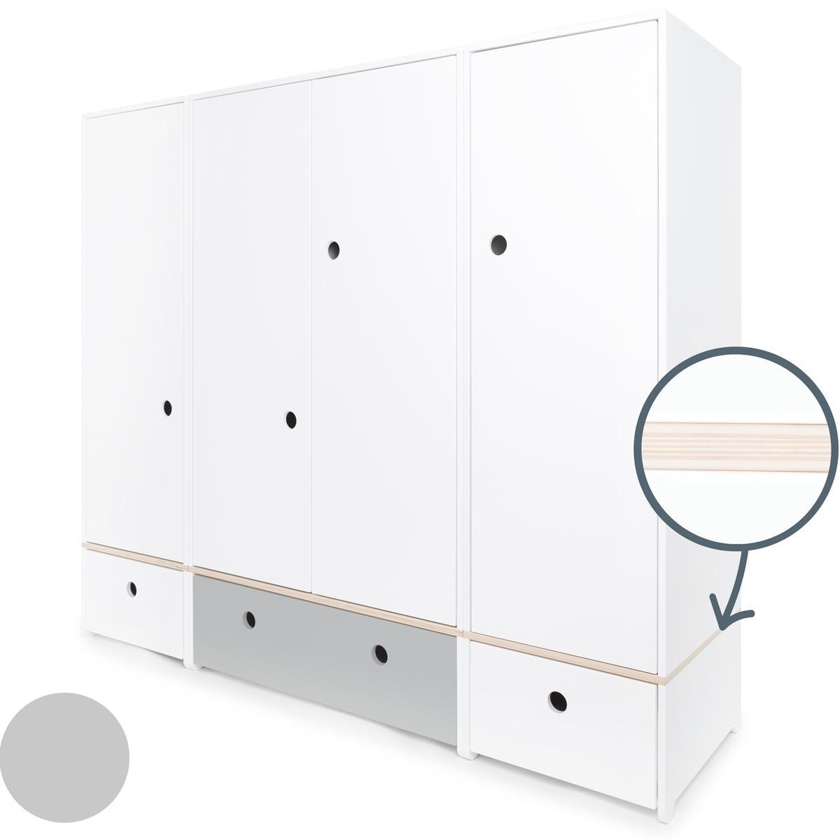 Armoire 4 portes COLORFLEX façades tiroirs white-pearl grey-white