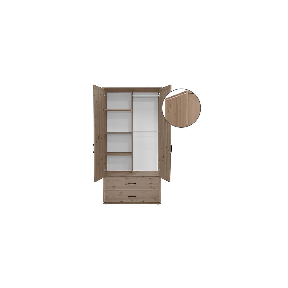 Armoire enfant 2 portes/2tiroirs NEW Classic FLEXA terra - terra - blanc