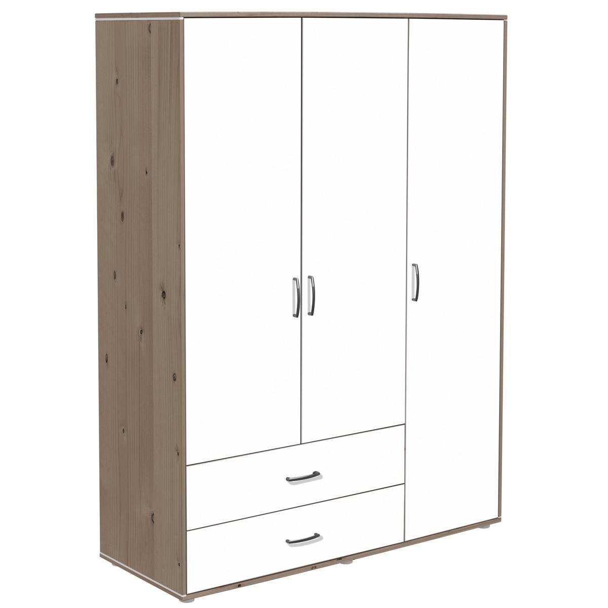 Armoire enfant 3 portes/2 tiroirs/4 tablettes terra/blanc FLEXA