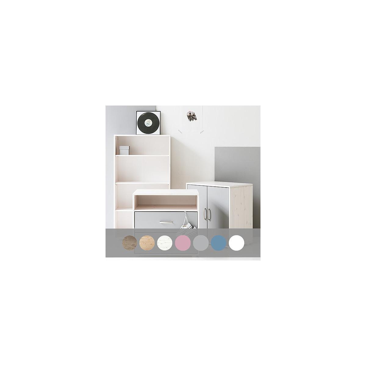 Armoire enfant basse 2 portes NEW Classic FLEXA blanchi - blanc - blanc