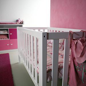 Babybett DESTYLE de Breuyn Buche massiv weiß gebeizt-lackiert