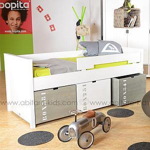 BASIC WOOD by Bopita Tiroir à jouets sur roulettes pour lit compact
