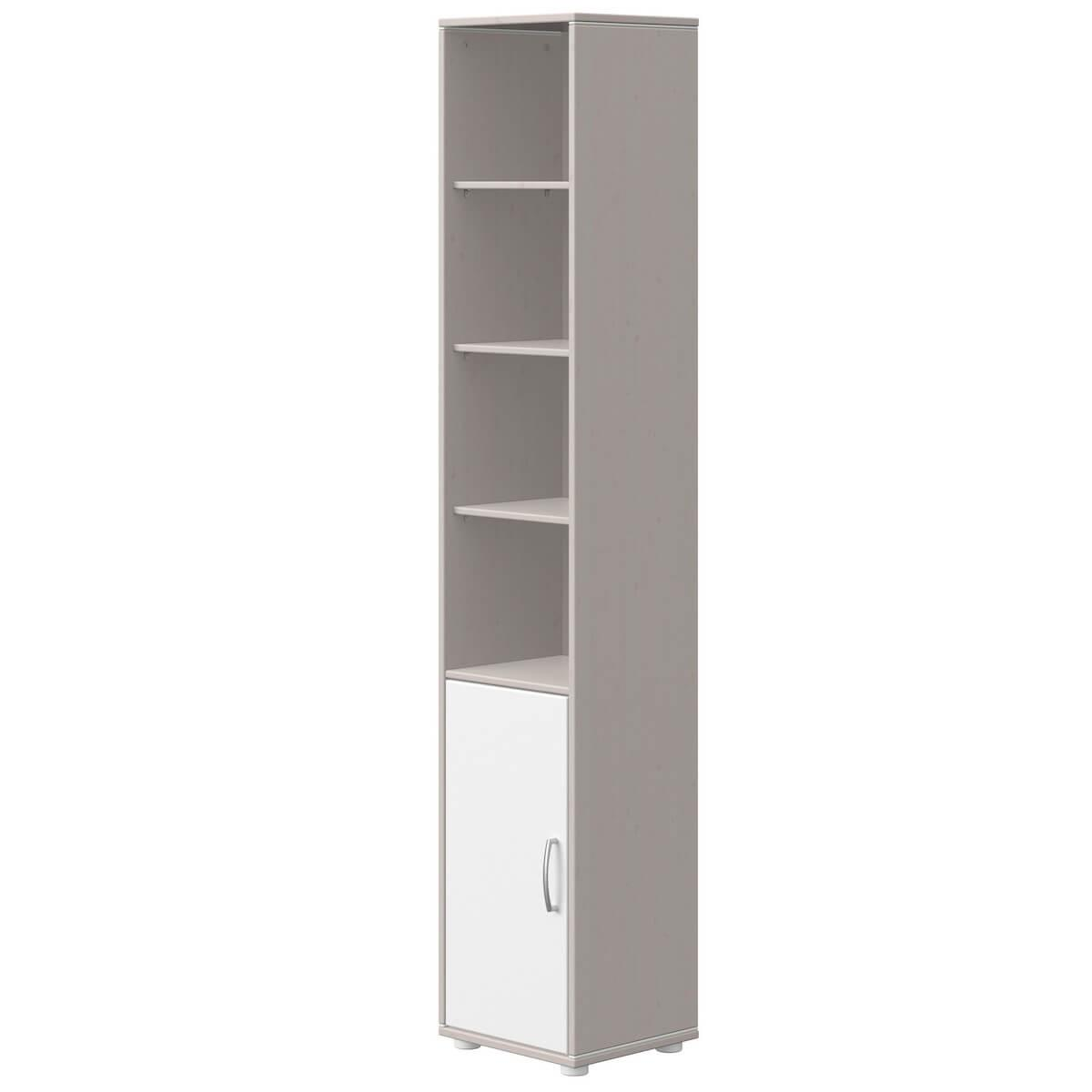 Bibliothèque 38x202cm 1 porte 3 tablettes CLASSIC Flexa blanc-grey washed